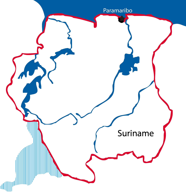 Kaart Suriname met betwist gebied